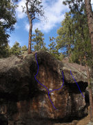 Rock Climbing Photo: The main Scoop problem follows the left line, the ...