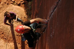 Rock Climbing Photo: Deep Brreath before the crux. Nice to see Clay was...