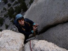 Rock Climbing Photo: Jessi cleaning gear on pitch 2