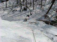 Rock Climbing Photo: Jenn comes up P1 of Crane Mountain's Waterfall ice...