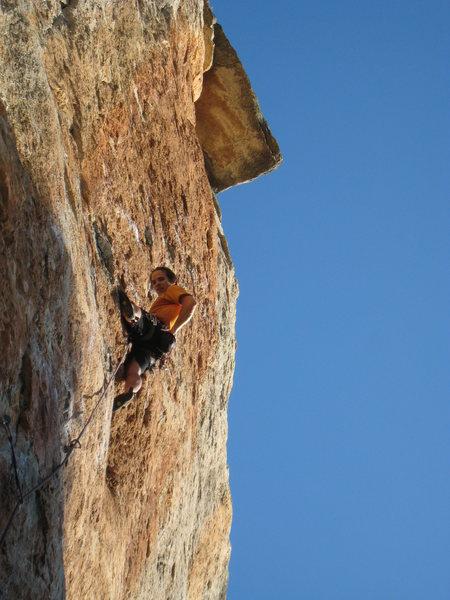 "Rock Climbing Photo: Enjoying the beautiful orange streak of ""Manr..."