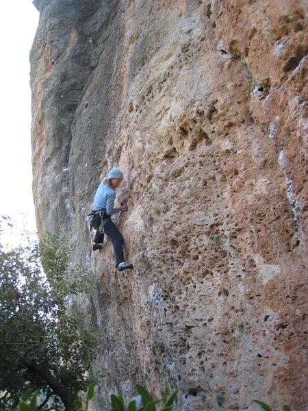 Rock Climbing Photo: Kate enjoying the juggy start.