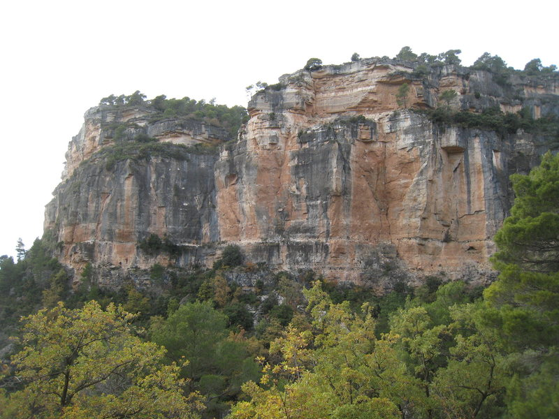 Rock Climbing Photo: The left end of La Siuranella from near the parkin...