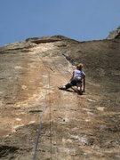 "Rock Climbing Photo: Enjoying the classic steep slab of ""Remena Ne..."