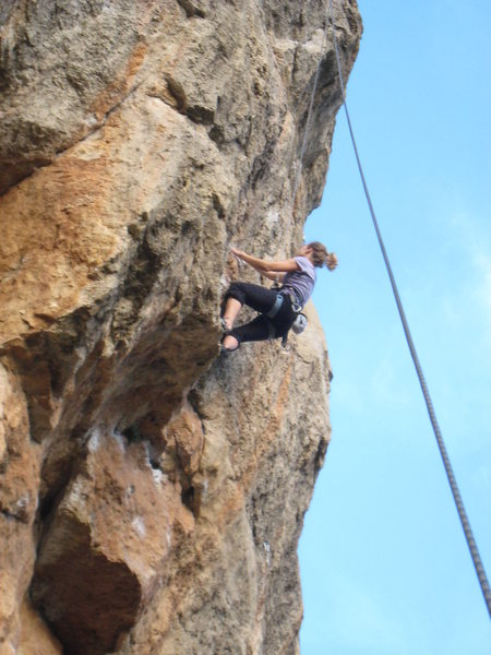 Over the second roof, nearing the wicked crux.