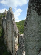 Rock Climbing Photo: Facing the gunsight notch on our ascent up the sou...