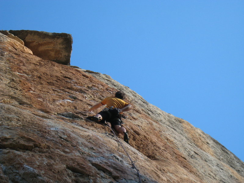 "Just above the crux on ""Mandragora""."