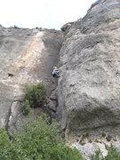 Rock Climbing Photo: Tan San Fot starts up the chimney, traverses aroun...