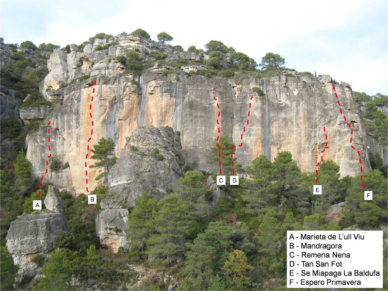 Rock Climbing Photo: Topo with some key routes marked.