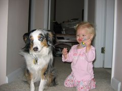 Rock Climbing Photo: Natalie (granddaughter) & Juno (granddogger)