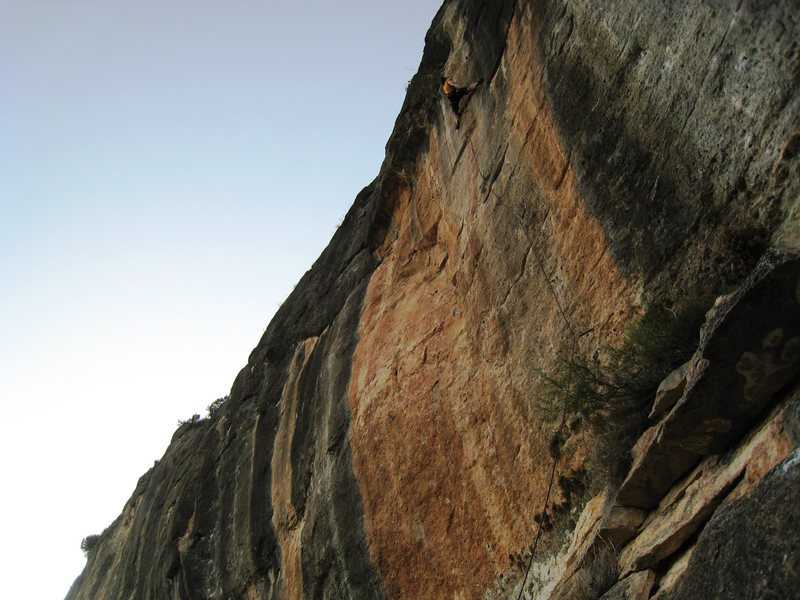 "Rock Climbing Photo: Onsighting ""Siouxie"", just above the cru..."