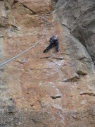 Rock Climbing Photo: Finishing up the last crux of Toca-me-la Sam with ...