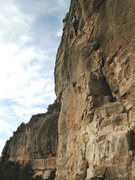 Rock Climbing Photo: Beginning the steep, cruxy middle section of Saiko...