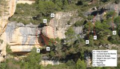 Rock Climbing Photo: Topo with key routes marked.