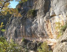 Rock Climbing Photo: The high ledge on the right end of Campi.  There a...