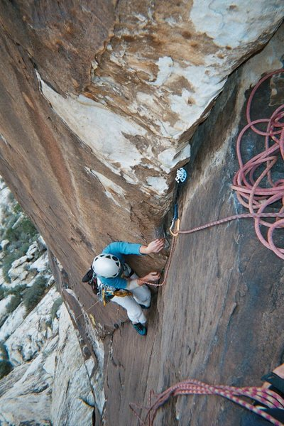 Rock Climbing Photo: Jean Myers nears the end of pitch 2 following JAG ...