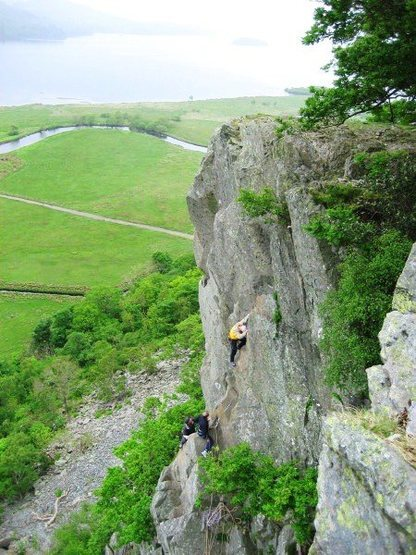 Rock Climbing Photo: The final pitch. The belayer Peter Lockey is sat o...