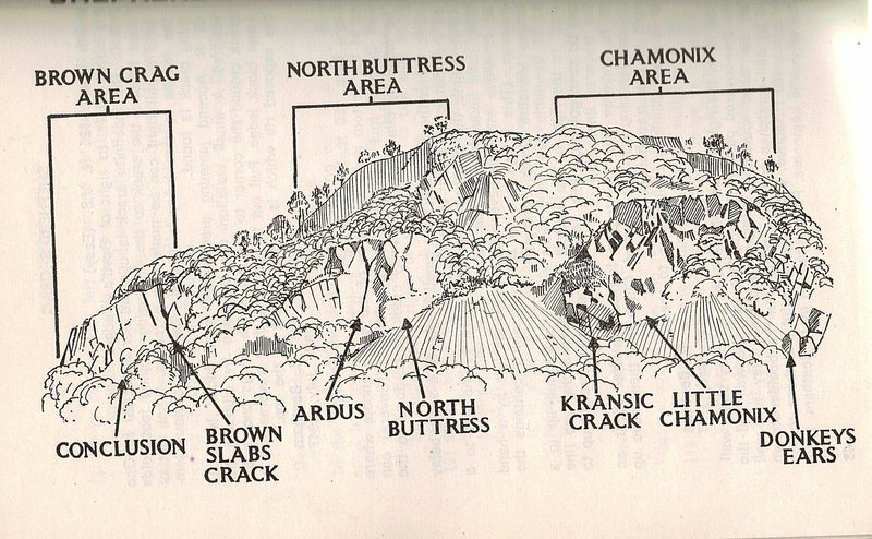 The Crag divided into sections . More routes will follow. Drawing by the late Len Roop.