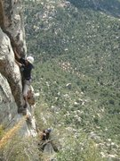 Rock Climbing Photo: August leads first pitch of Dislocation Direct