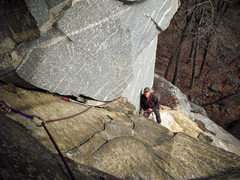Rock Climbing Photo: Looking down 2nd pitch Of Obamanation on the FA ac...