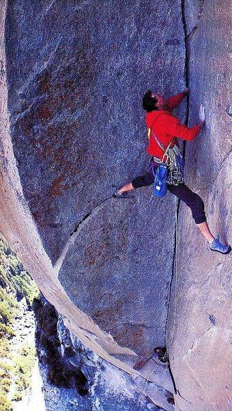 Rock Climbing Photo: Werner Braun running it out on Astroman (5.11c), Y...