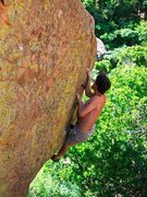 Rock Climbing Photo: climbing the overhanging face through rails and cr...