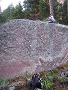 Rock Climbing Photo: Cleaning up the top of The Tasty Slab.