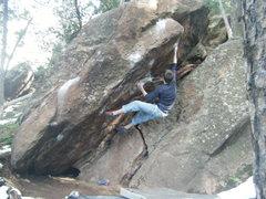 Rock Climbing Photo: Ben C. on the V4 overhang.