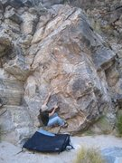 Rock Climbing Photo: Baron checking out a sit start on the Minnow.