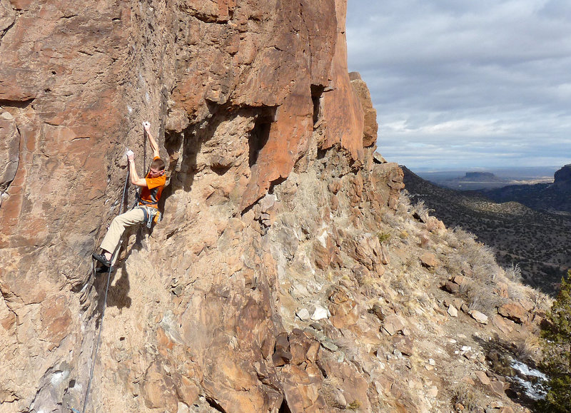 Rock Climbing Photo: Moving through the crux of the route on a just-war...
