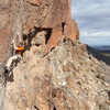 Moving through the crux of the route on a just-warm-enough December day. Photo by Allison Fritz.