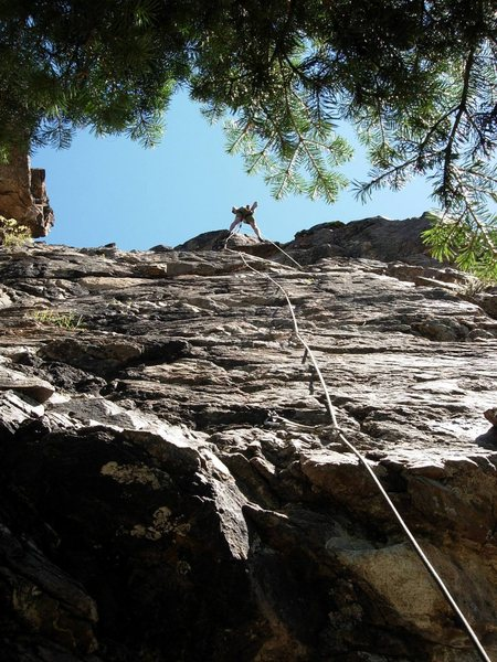 Rock Climbing Photo: 50 Yard Dash.  Randy at the anchor.