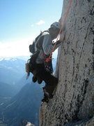 Rock Climbing Photo: Harz on the tricky traverse above the headwall.
