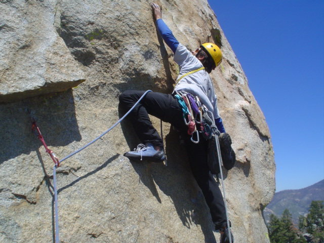 Jeff K. on the tricky face traverse.