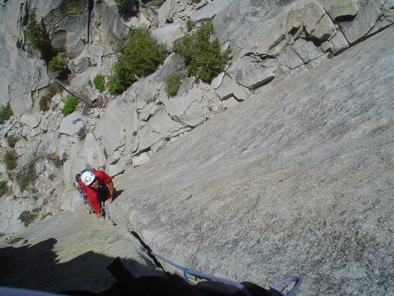 Rock Climbing Photo: Laughing up the sinker jams on the first pitch.
