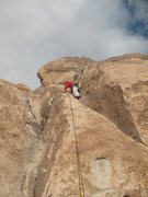 Rock Climbing Photo: Craig midway up Sokolove (5.5), Joshua Tree NP