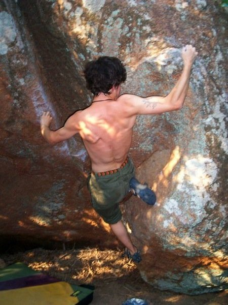 Rock Climbing Photo: doing the move across the gap to small crimps