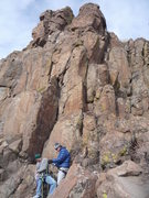 Rock Climbing Photo: The route climbs the right-facing dihedral and cra...
