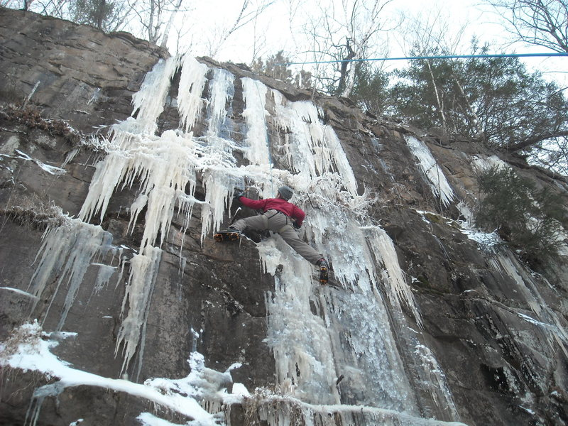 first day of ice climbing in sandstone MN