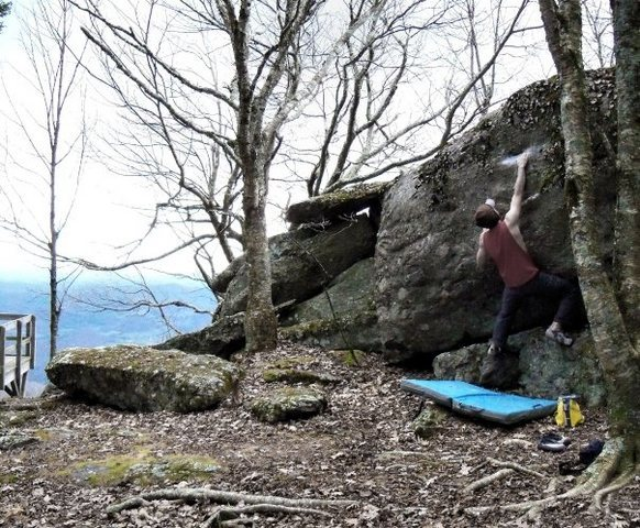 "warming up on ""Bi-Lingual"" at the starting overlook at the Listening Rock Trail Boulders"