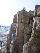 Rock Climbing Photo: A good shot of the arete with both climber and bel...