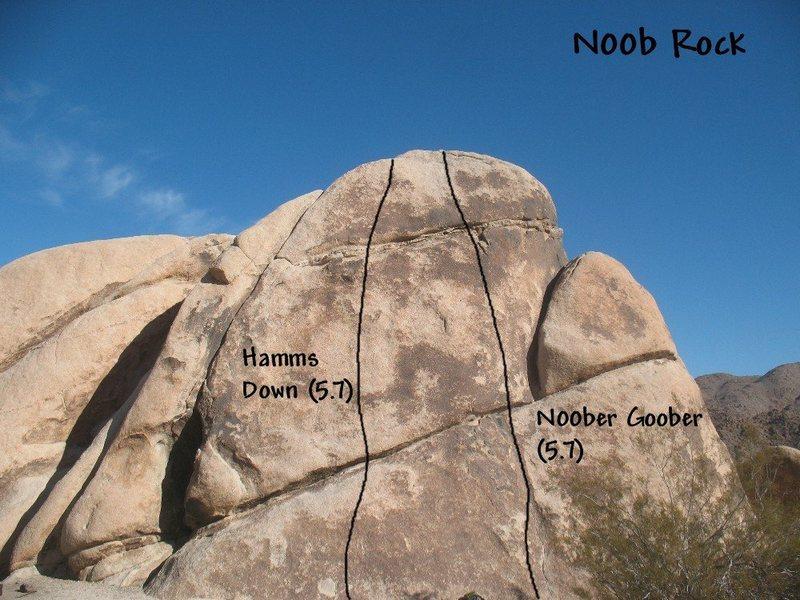 Rock Climbing Photo: Photo/topo for N00b Rock, Joshua Tree NP