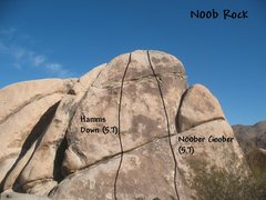 Rock Climbing Photo: Photo/topo for N00b Rock, Joshua Tree NP
