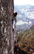 Rock Climbing Photo: Henry Barber on the FFA of Butterballs (5.11c), Yo...