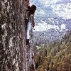 Henry Barber on the FFA of Butterballs (5.11c), Yosemite Valley<br> <br> Photo by Jib Knight