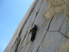 Rock Climbing Photo: Transitioning between the roof and handcrack on P3...