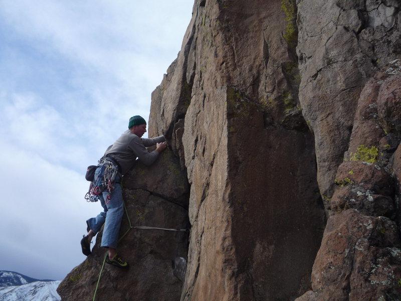 Rock Climbing Photo: Leading a fun crack at N. Table MTN.