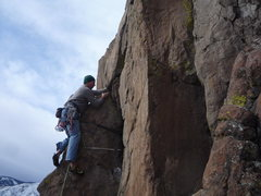 Rock Climbing Photo: Leading a fun crack at N. Table MTN.