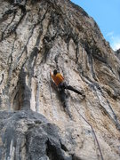 Rock Climbing Photo: Onsighting L'any Que ve Tambe in frigid temps.