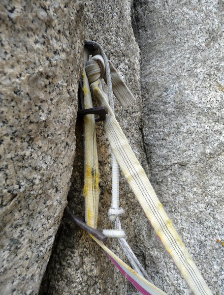 Rock Climbing Photo: This is the tri-pin old belay. Don't stop.